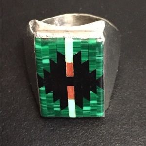 Vintage Sterling Inlaid Gemstone Ring